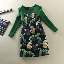 Women Long Sleeve Winter Dress Squirrel Print Dress Jacquard Weave Cotton Buds Patched Ball Gown Vestido Casual Ladies Dress(China (Mainland))