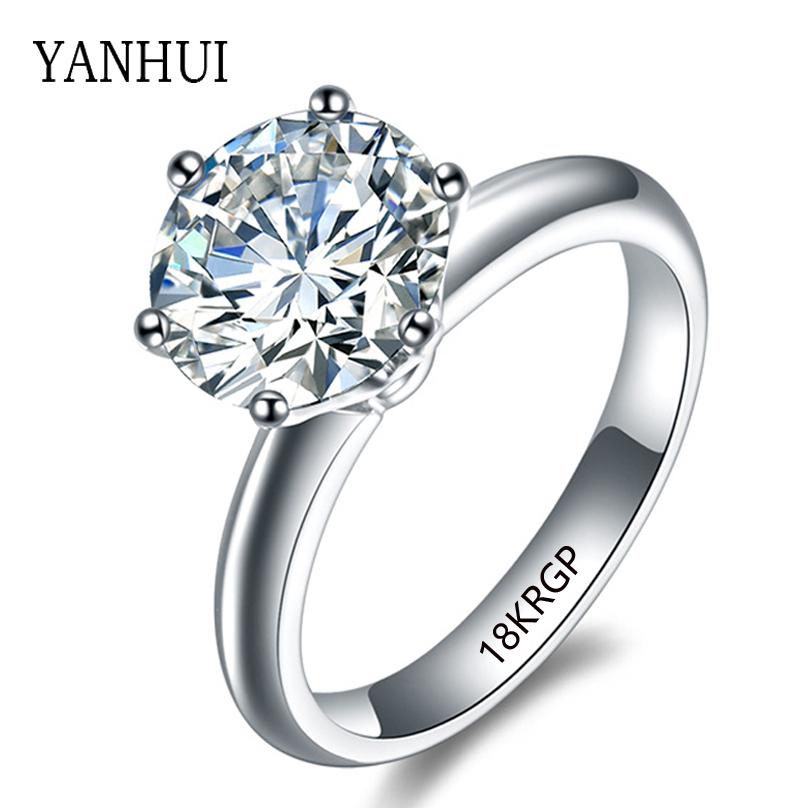 18KRGP Stamp Real Gold Ring Set 8mm 2 Carat Sona CZ Diamond Engagement Ring 18K White Gold Filled Wedding Rings For Women JZR168(China (Mainland))
