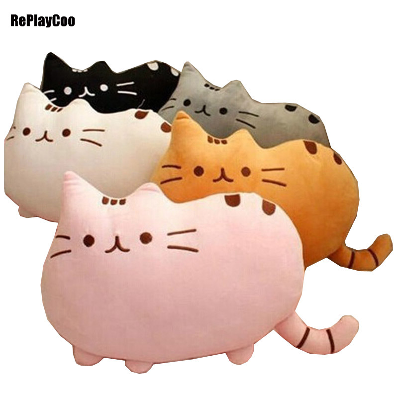 Kawaii Cat Pusheen Plush Pillow With Zipper 40x30cm Only Skin Without PP Cotton Pusheen Soft Toys Big Cushion Cover Peluche 098(China (Mainland))