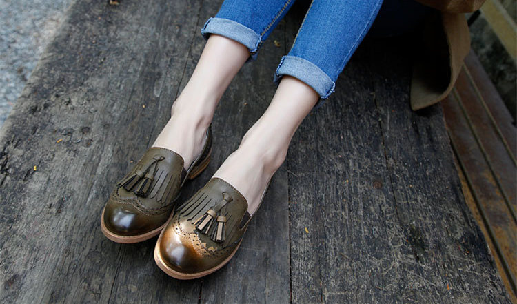 Flats British Oxford Shoes For Women Leather Brogues Women Oxfords With Tassels Platform Fringe Flats Shoes Woman#HL12