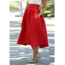 Red Color Vintage Women Stretch High Waist Skater Flared Pleated Swing Mid Calf Long Skirts S-XL