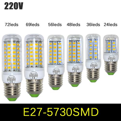 7W 12W 15W 20W 25W 30W E27 LED Corn Bulb 220V SMD5730 LED Lamp Pendant Light 24LED 36LEDs 48LEDs 56LEDs 69LEDs 72LEDs 5pcs lot(China (Mainland))