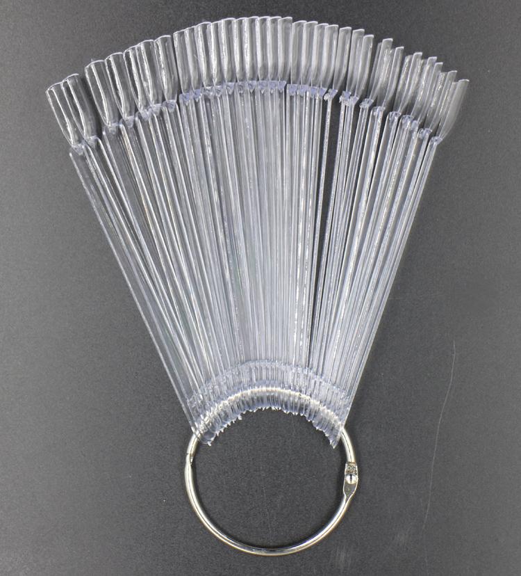 ***Clear***50pcs With Metal Ring Prastic False Nails Art Tips Sticks Polish Display Fan Board Nails Tools#ND-50B(China (Mainland))