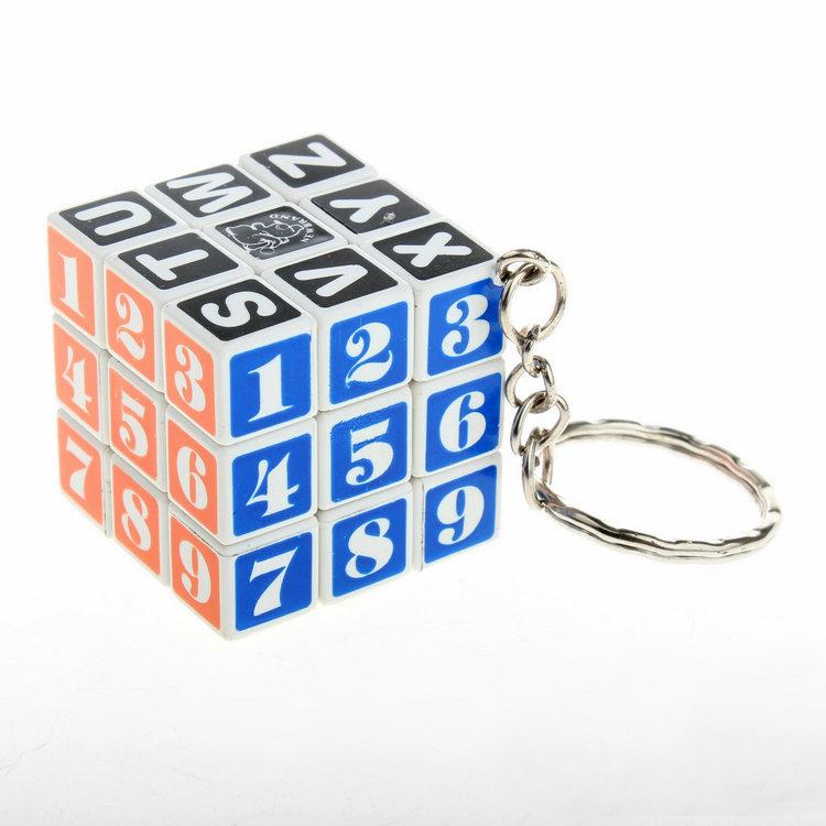 New 3cm Mini Magic speed cube 3x3x3 third-order English alphabet digital puzzle cube with key chain Minifigures Educational toys(China (Mainland))