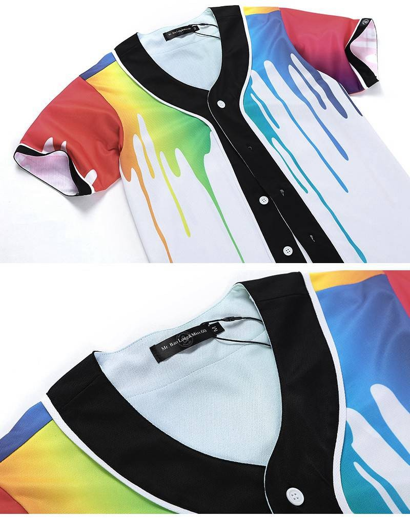 New Brand Unisex Baseball Shirts Mens Button-Down 3D Print Rainbow Jersey Casual V-neck Short Sleeve Fancy Shirts Men XXXL (1)