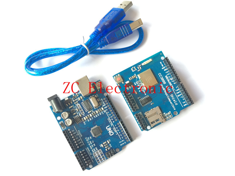 Free Shipping TI CC3000 Wifi for Arduino development expansion Wifi wireless shield + UNO R3 MEGA328P with usb cable(China (Mainland))