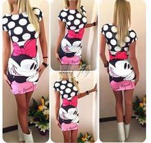S-3XL Vestidos 2016 Women Summer Casual Dress Print Short Sleeve Dresses Sexy Fashion Mini Dress Cute Straight Vestido Plus Size