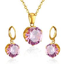 LUXUKISSKIDS יוקרה זהב צבע כלה תכשיטי סטים & יותר עבור נשים חתונה עם גבוהה באיכות AAA זירקון(China)