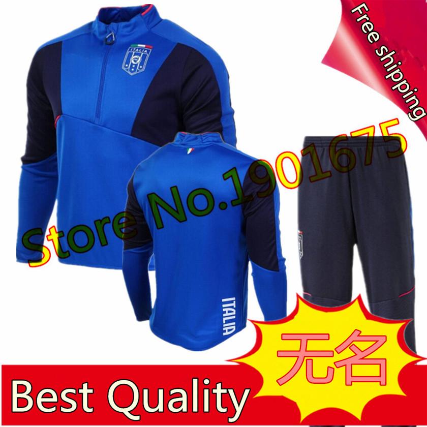 Formazione suit italia giacca blu nero pantaloni di calcio di calcio italia 2015 2016 tuta chandal camicia di sudore(China (Mainland))
