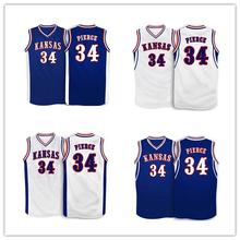 Kansas Jayhawks #34 Paul Pierce Blue Throwback JERSEY Custom any Size,Number name Stitched High Quality XS-XXXL Free shipping(China (Mainland))
