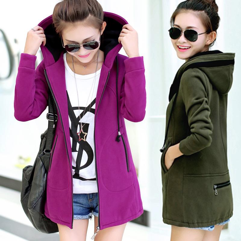 Winter Sweater Coat Female Loose Large Size Women Long Cardigan Slim Fleece Hoodies M/L/XL/XXL Army Green/Orange/Black/PurpleОдежда и ак�е��уары<br><br><br>Aliexpress