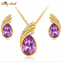 jewelry sets african bridal 18k gold platinum plated necklace earrings wedding crystal sieraden women fashion gift jewellery set(China (Mainland))