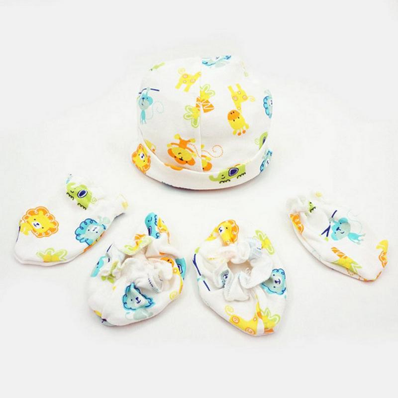 Organic cotton Newborn Infant Baby Gloves Cotton Anti-Scratch Handguard gloves+sock+hat 3pcs/set cotton hat infant socks ZBF445(China (Mainland))