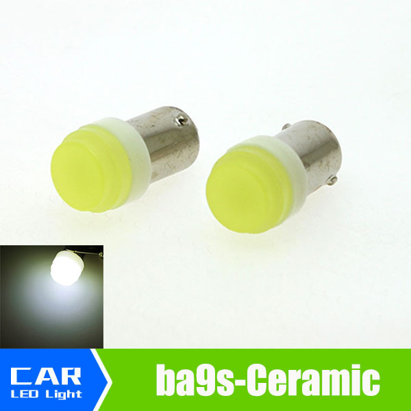 2pcs 12V auto Car Interior LED BA9S 1W White Ceramic High Power Bulb Reading Light Lamp Bulb t4w styling lamp bulb signal