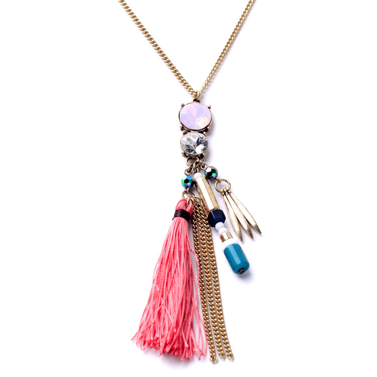 SGFN1393/ Sweet girl /wholesale price/factory supply /custom jewelry/2015 new arrival/ thread tassel pendant long necklace(China (Mainland))