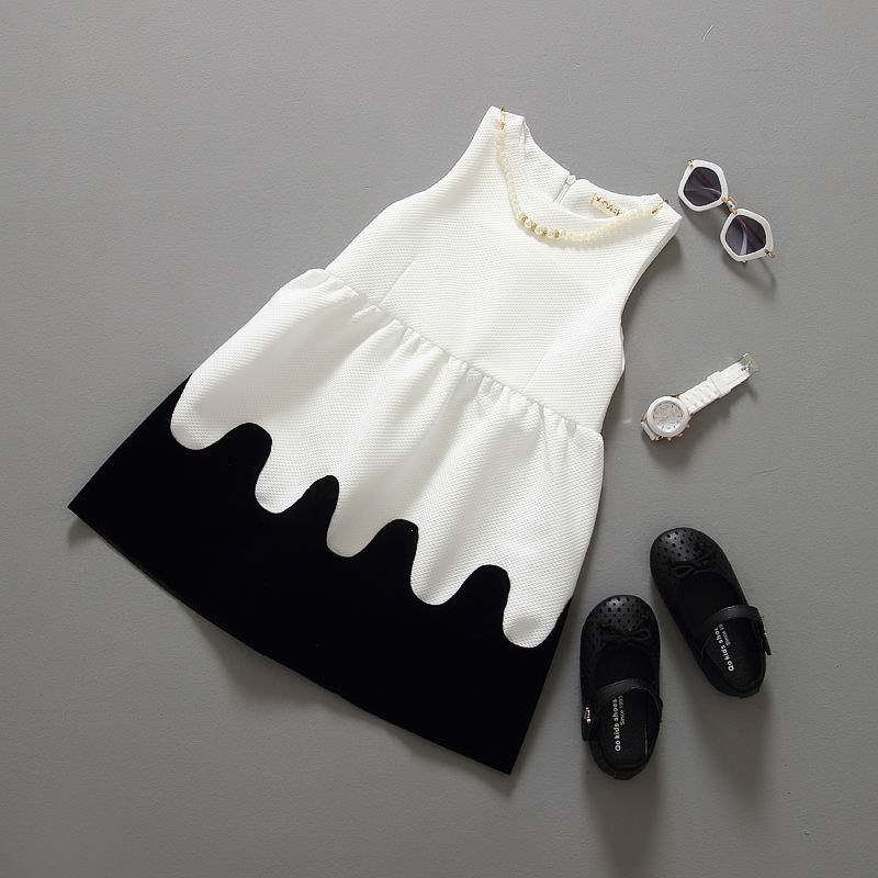 2015 Summer New Black White Girl Dress Princess Sundress With Necklace 2-7T QZ730(China (Mainland))