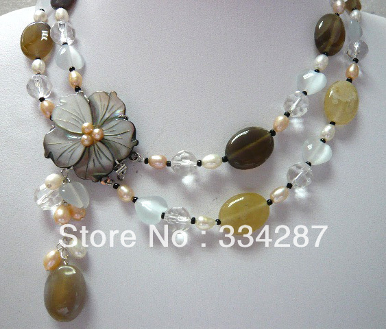 5 colors!fine 2 row mixed pearl & colorful jade stone turquoise necklace pendant(China (Mainland))