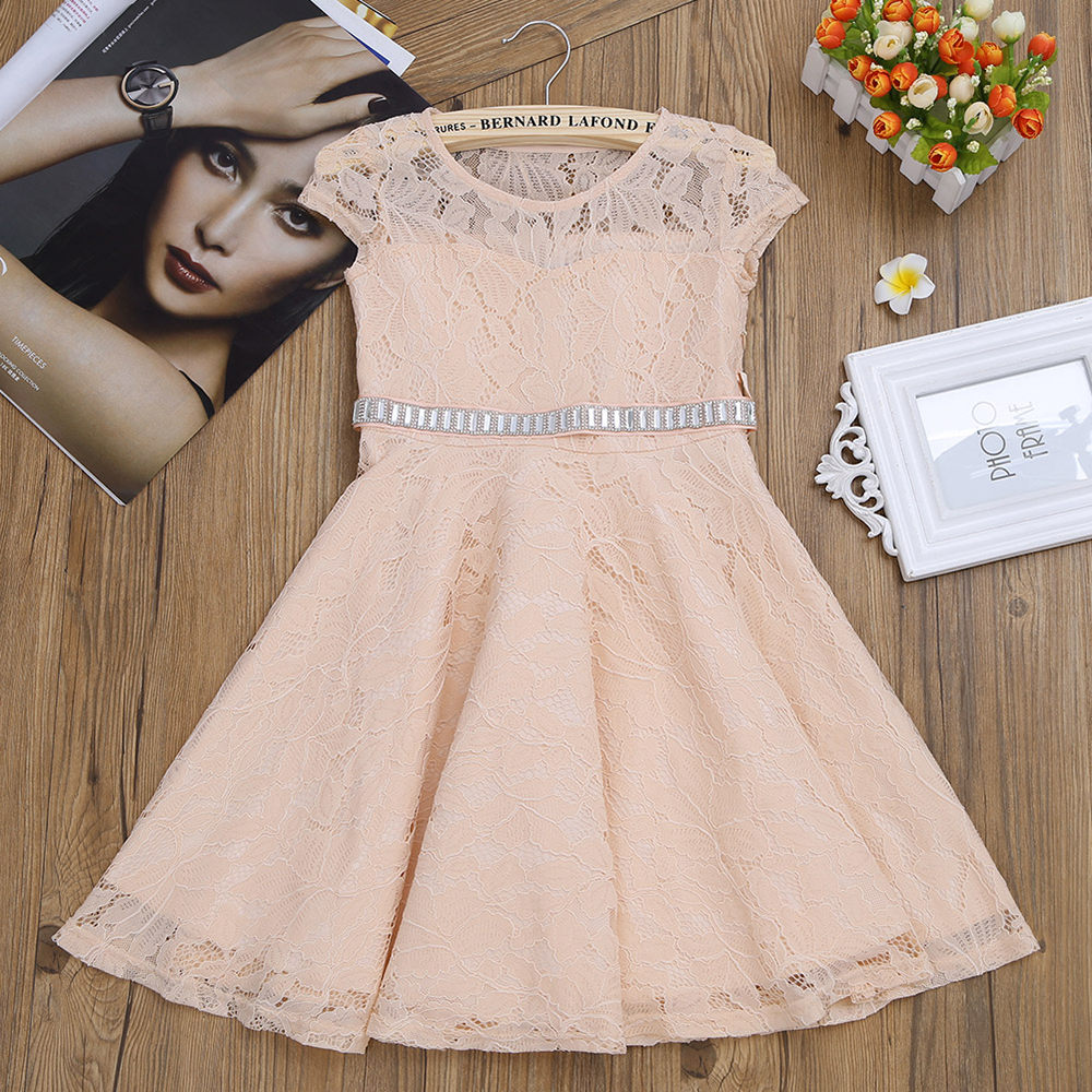 Peach orange Princess Dress for Kids Girls Cap Sleeve Lace Floral Girl Dress Pageant Wedding Birthday Party Dresses SZ 4-14(China (Mainland))