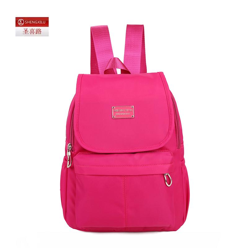Shengxilu candy color women backpack waterproof nylon lady backpacks female casual sport travel bag mochila feminina(China (Mainland))