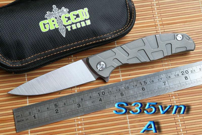 Green thorn S35vn blade F95 Flipper 95 folding knife bearing Titanium carbon fiber outdoor camping hunting pocket knife EDC tool(China (Mainland))