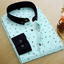 Brand Print Men Shirt Long-sleeve Shirt Slim Fit Casual Shirts Fashion Men's Clothing Casual Camisa Masculina Plus Size New 2015(China (Mainland))