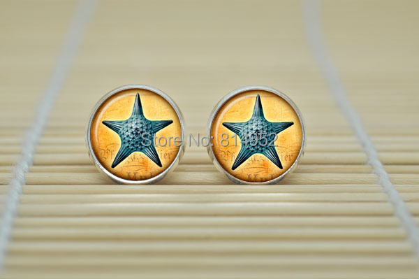 1pair Sea star Earrings vintage style Sea life Earrings jewelry glass Cabochon Earrings B2022(China (Mainland))