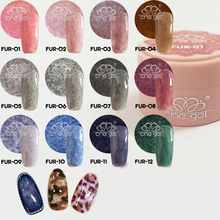 Long Lasting Faux Fur Effect Nail Gel Soak Off UV LED Nail Art Gel 1 pcs 12 Colors for Nail Art ZJY073