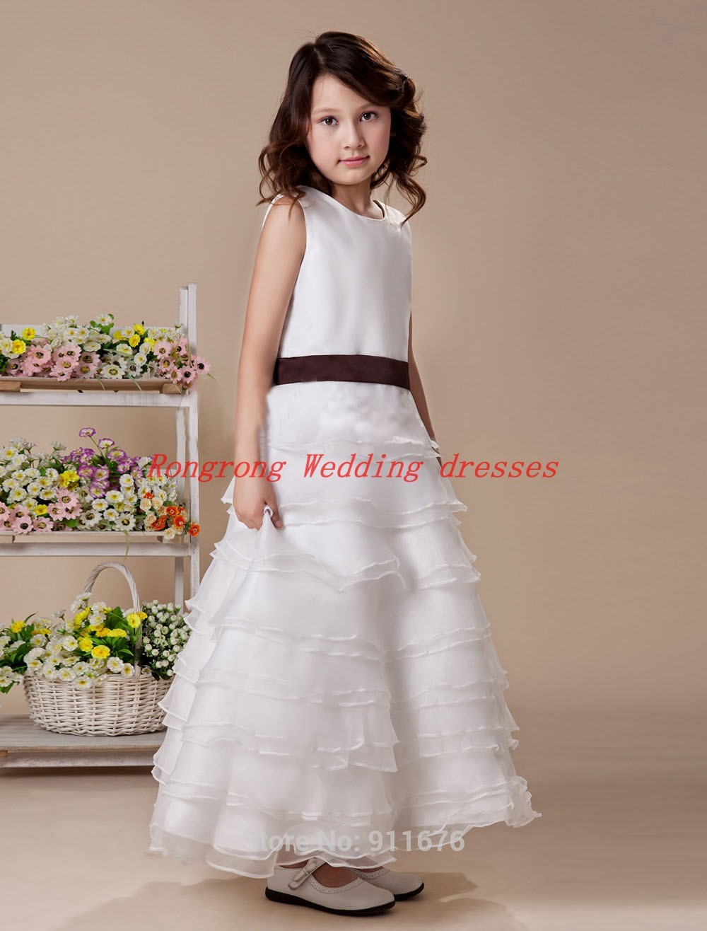 2014 New sexy Girl's Pageant Dresses Cute Princess Ball Gowns Party Flower Girl Ruffles child bridesmaid first communion Dress(China (Mainland))