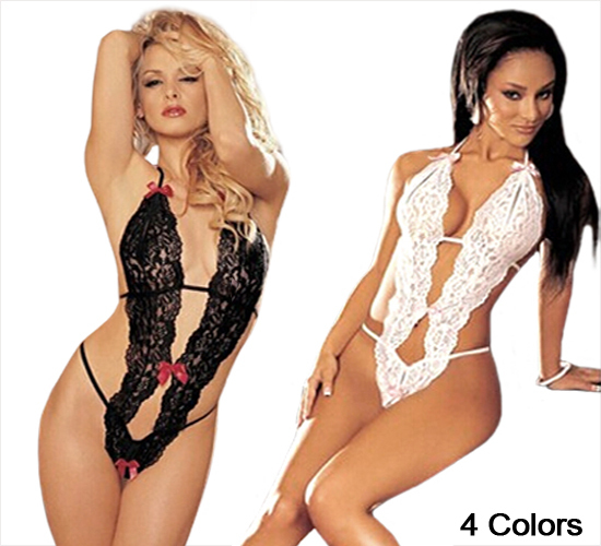Sexy Lingerie Women's Teddies & Bodysuits Erotic Lingerie Sheer Lace Teddy 1pc Bows Open Front Sleepwear 4 Colors For Sex(China (Mainland))