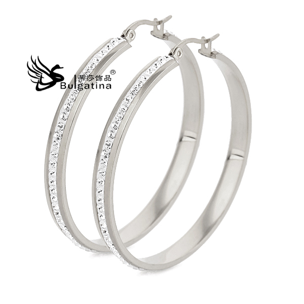 2015 18K White Gold Plated Channel-Set Crystal Big Brand 316L Stainless Steel Fashion Hoop Earring Women Girl Gift 3 Sizes - Disha Findings store