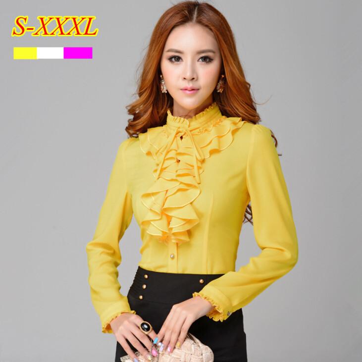 2015 Spring women's stand collar ruffles long sleeve chiffon blouse fashion clothing Formal female elegant shirt plus size tops(China (Mainland))