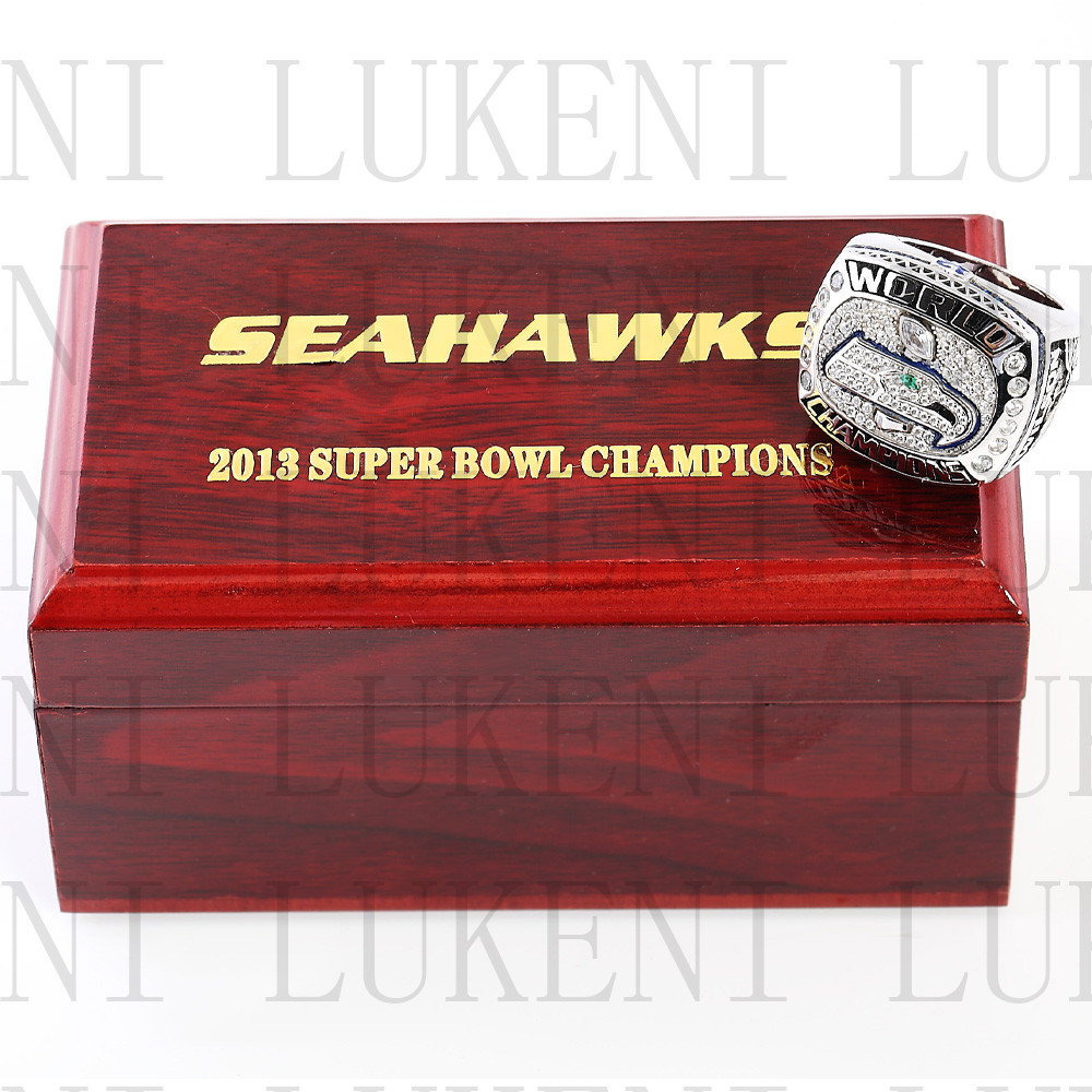 Replica 2013 Super Bowl XLVIII Seattle Seahawks Championship Ring Football Rings With High Quality Wooden Box Best Gift LUKENI(China (Mainland))
