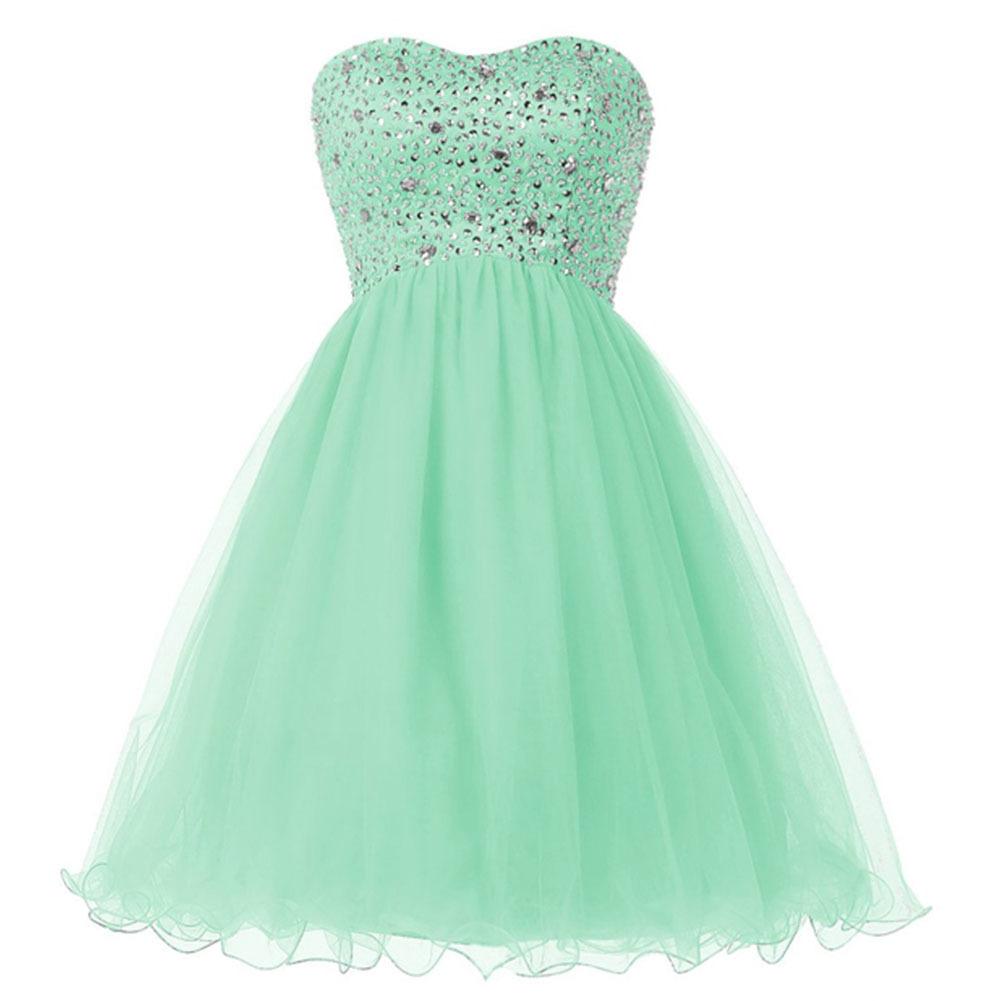 Popular Mint Green Short Strapless Prom Dresses-Buy Cheap Mint ...