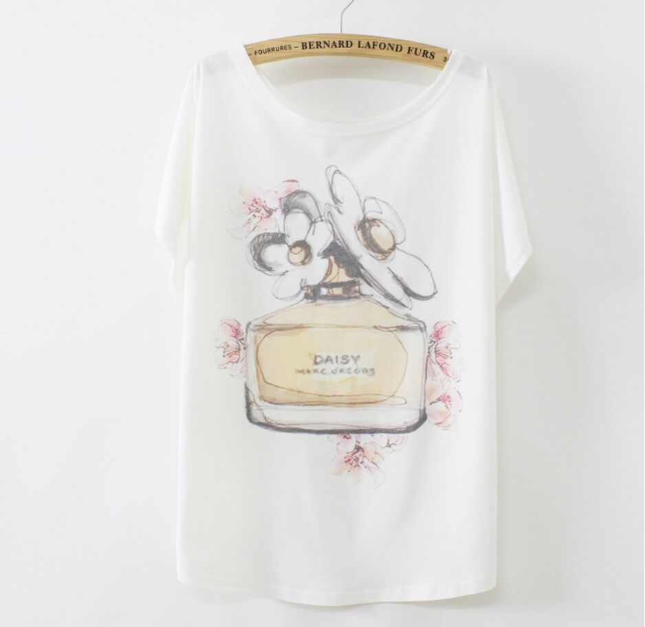Hot Sale Big Size 21 Colors Womens Tops Fashion 2015 Perfume Print Women Tshirt Cotton Loose Fitted Tees Abercombrie TS0031(China (Mainland))