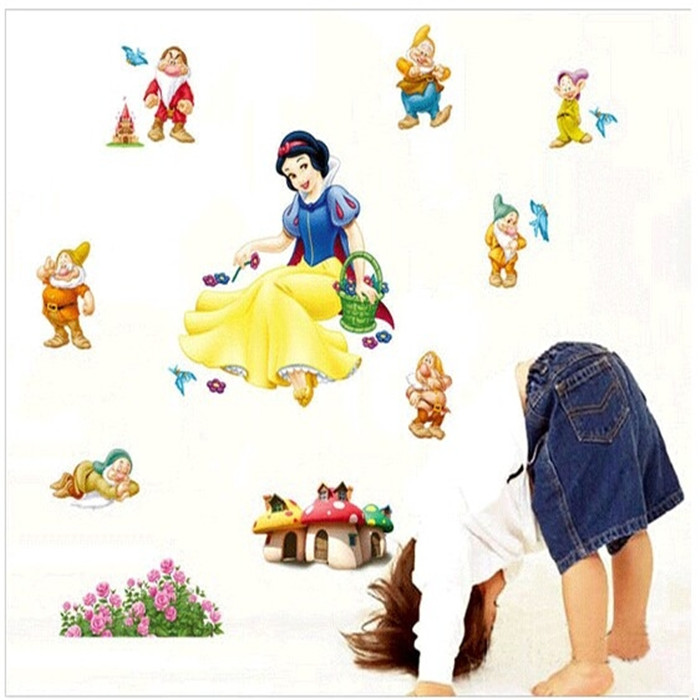 Snow White and the Seven Dwarfs cartoon wall stickers for kids rooms boys girls living room sofa home decor wall decals(China (Mainland))