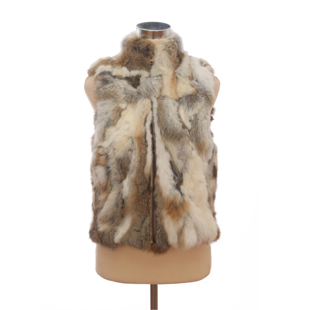 Autumn Lady Genuine Natural Spliced Rabbit Fur Vest Mandarin Collar Winter Women Fur Waistcoat Female Outerwear Coats QD30406(China (Mainland))