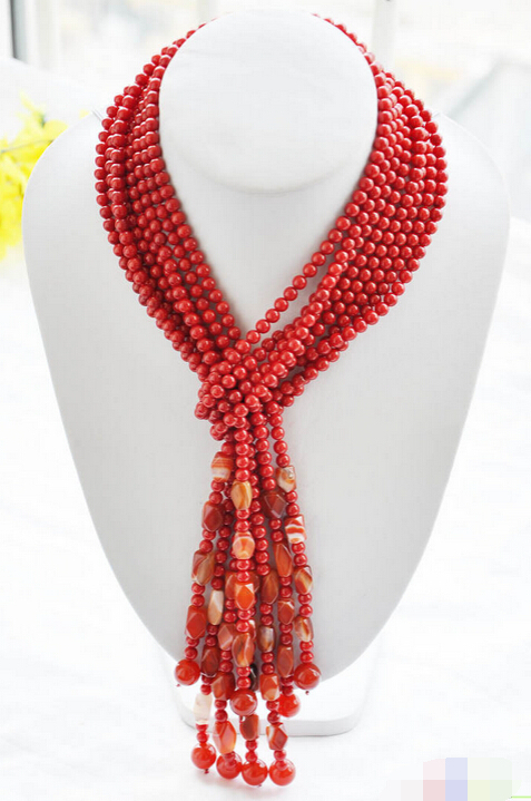 bjc 0001770  100% real 4strands 50 6mm red coral agate bead necklace<br><br>Aliexpress