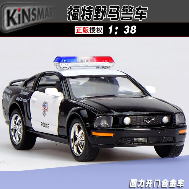 Gift for boy 1:38 12.5cm Ford mustang police man car alloy model pull back primary collection toy free shipping(China (Mainland))