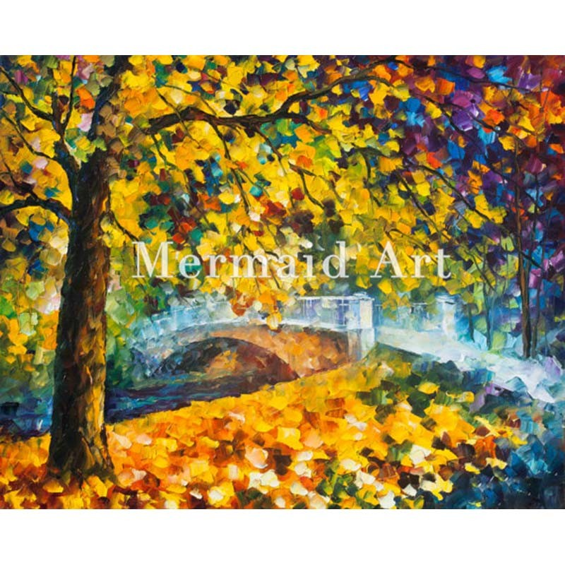 Buy Hand Painted Landscape Abstract Palette Knife Modern Los Angeles 1925 Oil Painting Canvas Wall Living Room Artwork Fine Art cheap