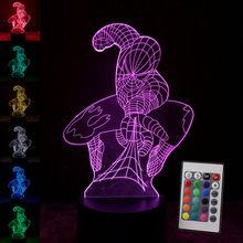 Homem aranha Homem De Ferro Modelo 3D Ilusão NightLight LED Glowing in the Dark Avengers Superhero Figura Brinquedos Light Up 7 cores(China)