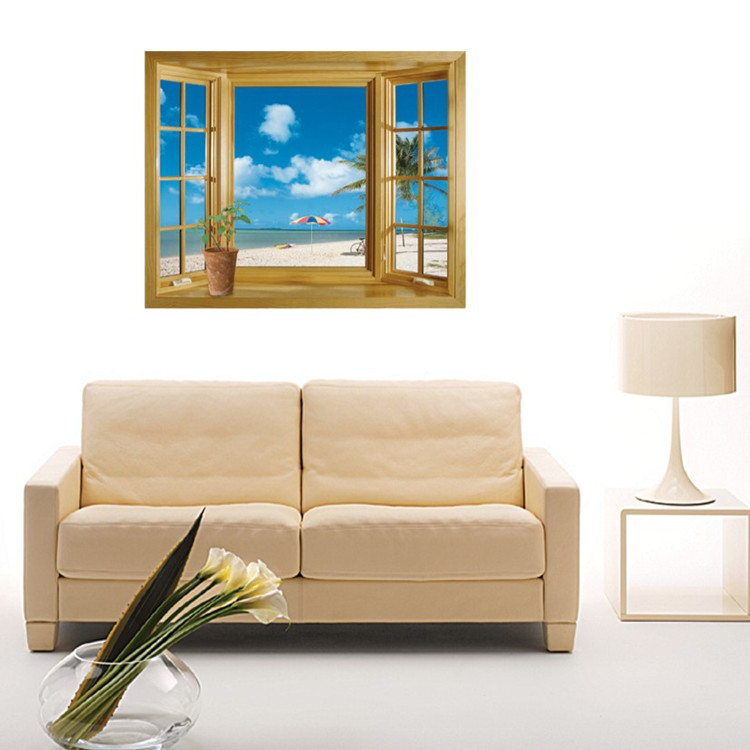 removable wall stickers Home Furnishing soft decoration Yiwu wholesale department store window views of JM8012 Beach(China (Mainland))
