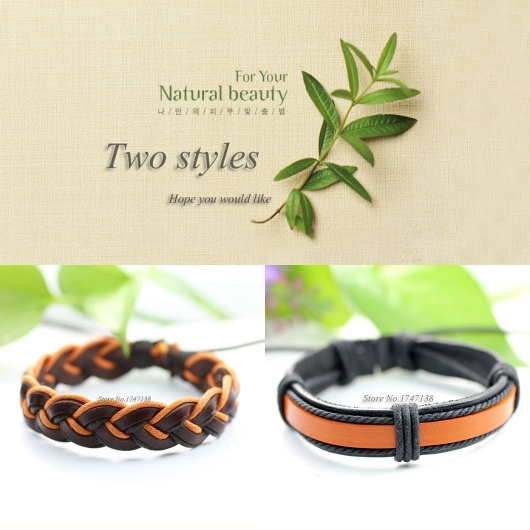 Fashion (2pcs/lot) Braided genuine wrap friendship leather bracelet Men&Women pulseira de couro masculina feminina -K5(China (Mainland))