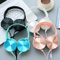 Luxury Beautiful Headband Stereo Headphones w Microphone Portable Wired Rose Gold Headset for Mobile Phone iPhone