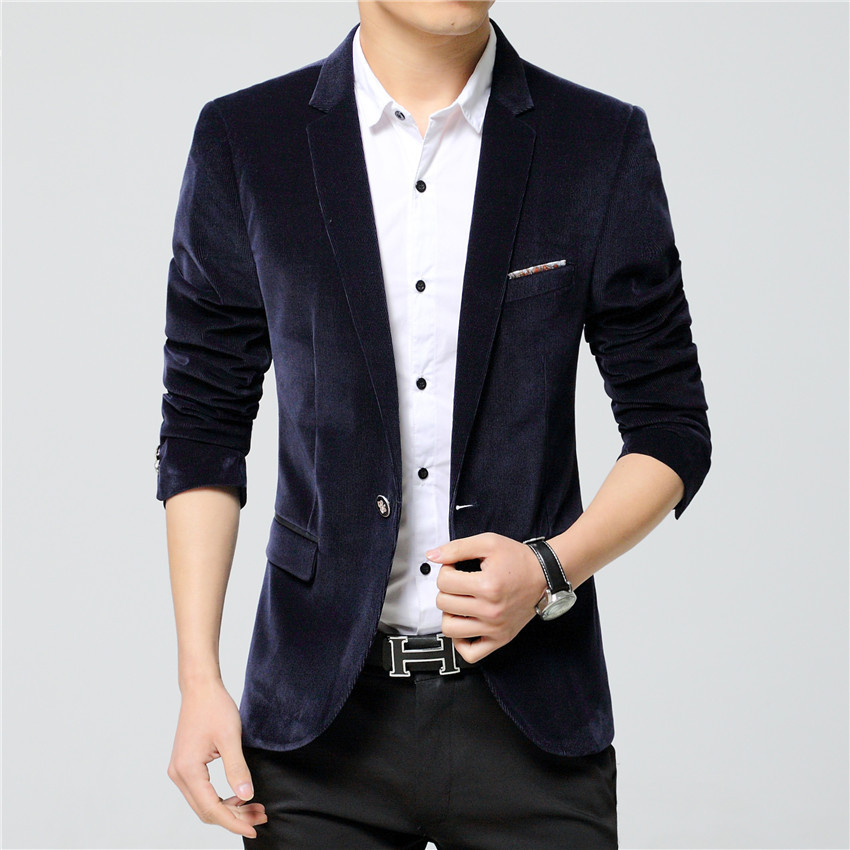 2016 New Arrival Luxury Blazer Men Spring Style Fashion Brand Quality Cotton Slim Fit Black Suit