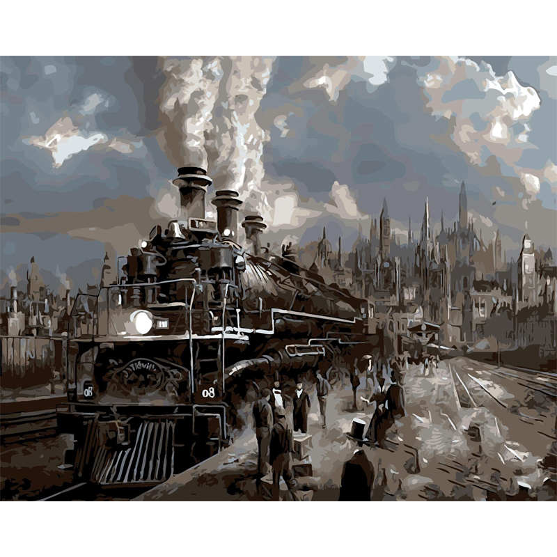 Old train picture Cityscape diy painting by numbers hand painted canvas oil paintings coloring by numbers canvas art decoration(China (Mainland))