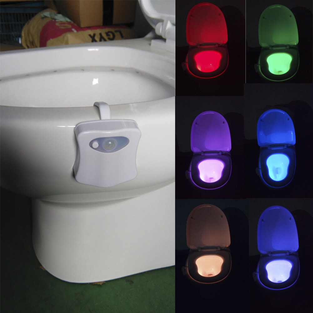 New 8 Colors PIR Motion Sensor Bathroom Toilet Nightlight LED Body Motion Activated Light Sensitive Dusk to Dawn 3d tooth lamp(China (Mainland))
