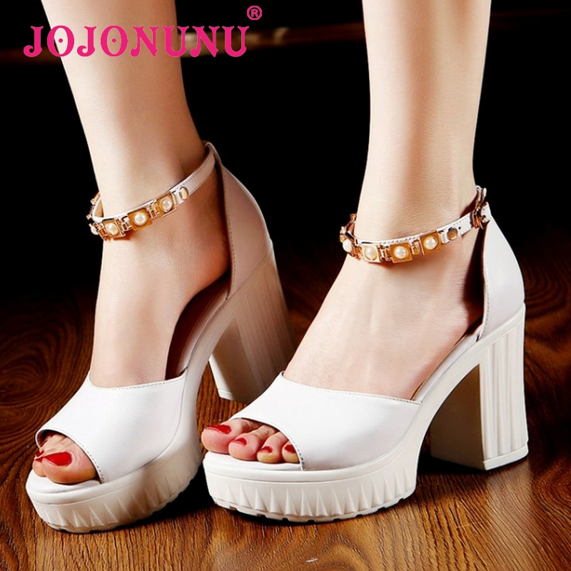 women real genuine leather open peep toe shoes square high heel sandals brand sexy fashion heeled ladies shoes size 34-39 R7022<br><br>Aliexpress