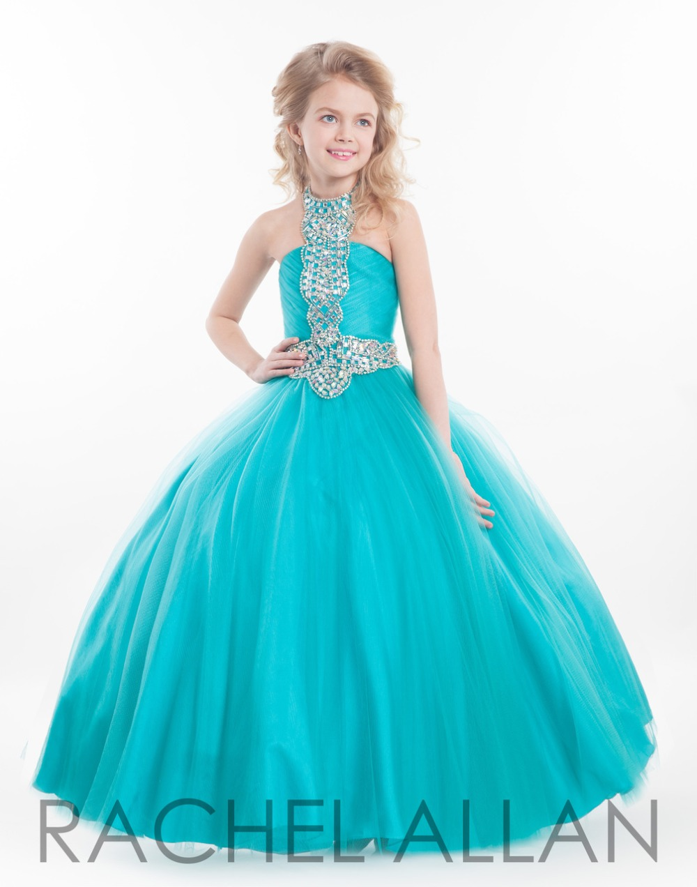 2016 Girls Pageant Gowns Halter Neck Tulle Ball Gown Prom ... Kids Formal Dresses