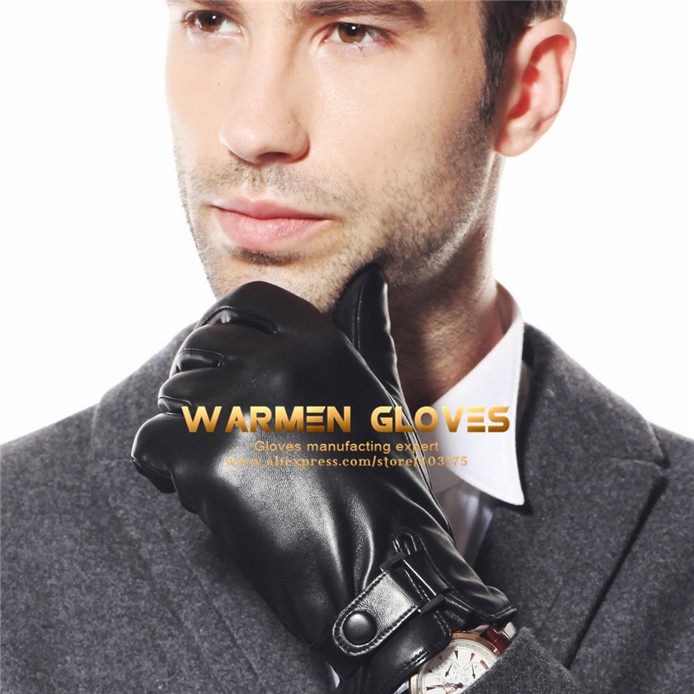 WARMEN Men Motorcycle Driving Winter Warm Kid Leather Gloves(China (Mainland))
