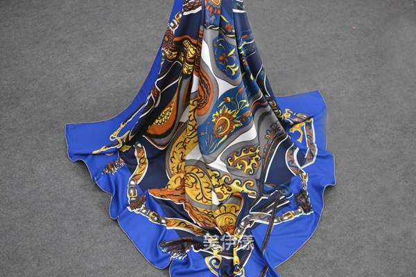 2015 NEW 20% real silk 80% rayon Large square scarf Shawl of saddle print manual roll scarves women scarf good gift for women(China (Mainland))